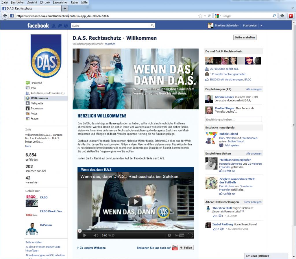 Screenshot D.A.S. Kampagnen App auf Facebook