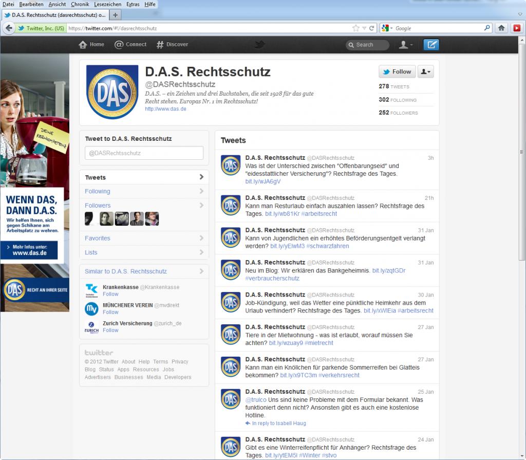 Screenshot D.A.S. Rechtsschutz auf Twitter