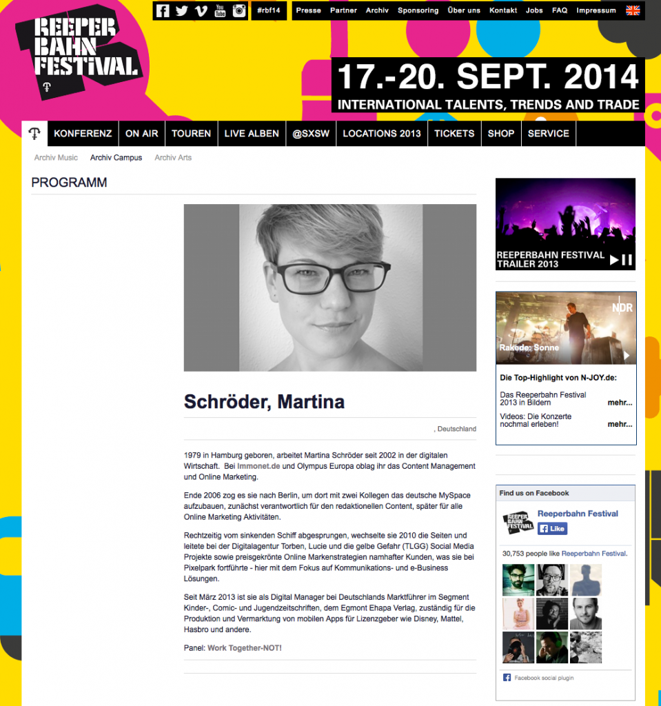 Screenshot http://www.reeperbahnfestival.com