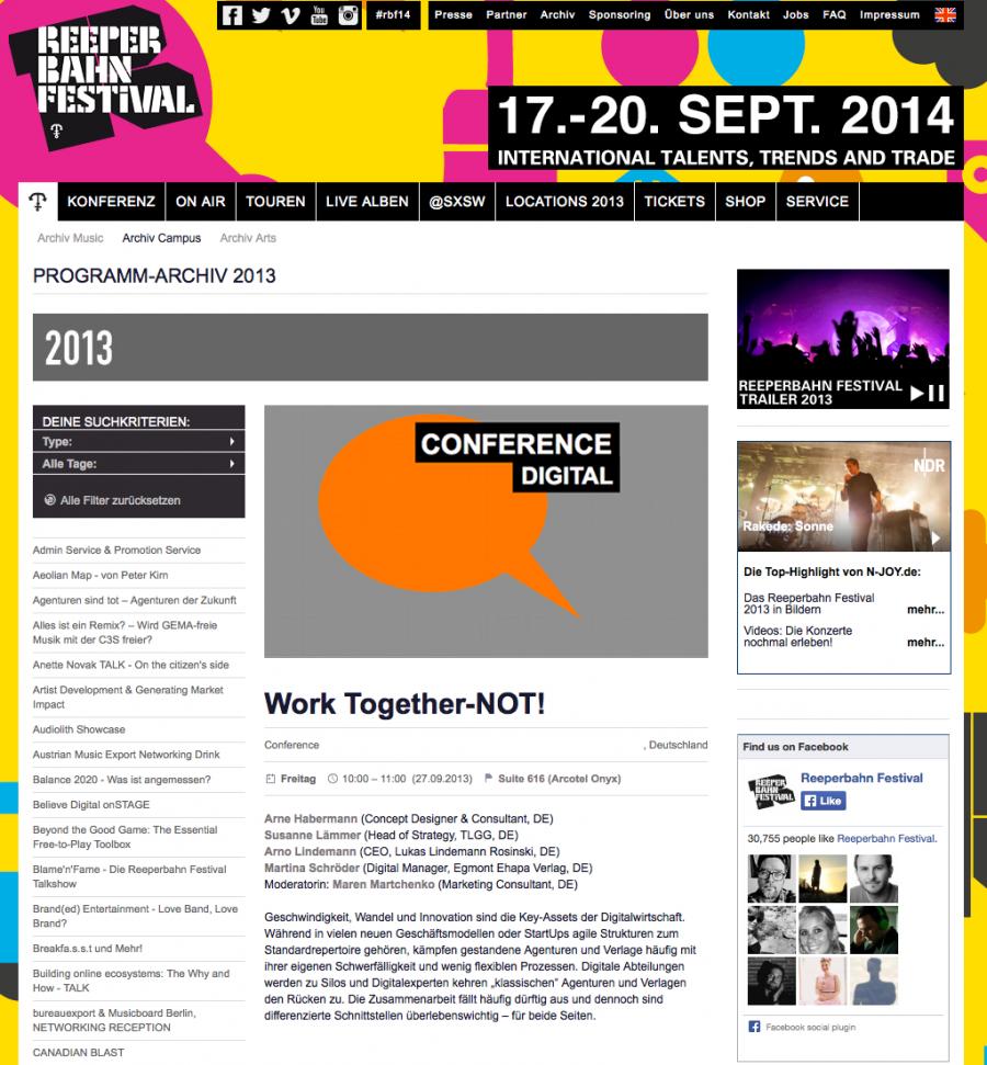 Reeperbahn Festival Panel