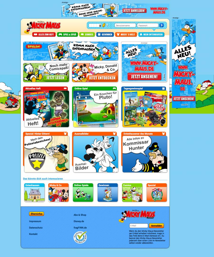 Die neue Website Micky-Maus.de