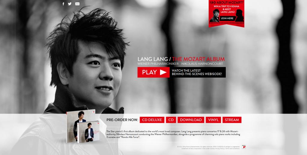 "Lang Lang ""The Mozart Album"" Microsite Screenshot © Sony Classical"
