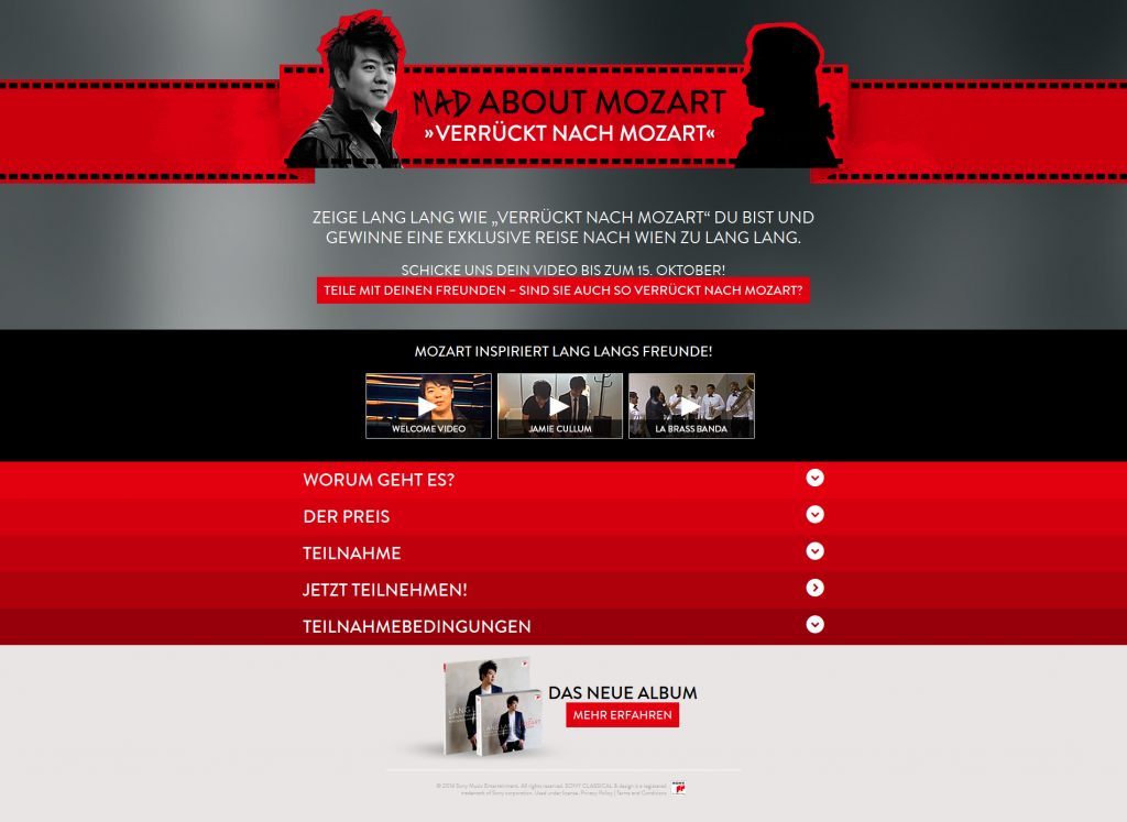"""Mad About Mozart"" Kampagnen-Microsite Screenshot © Sony Classical"