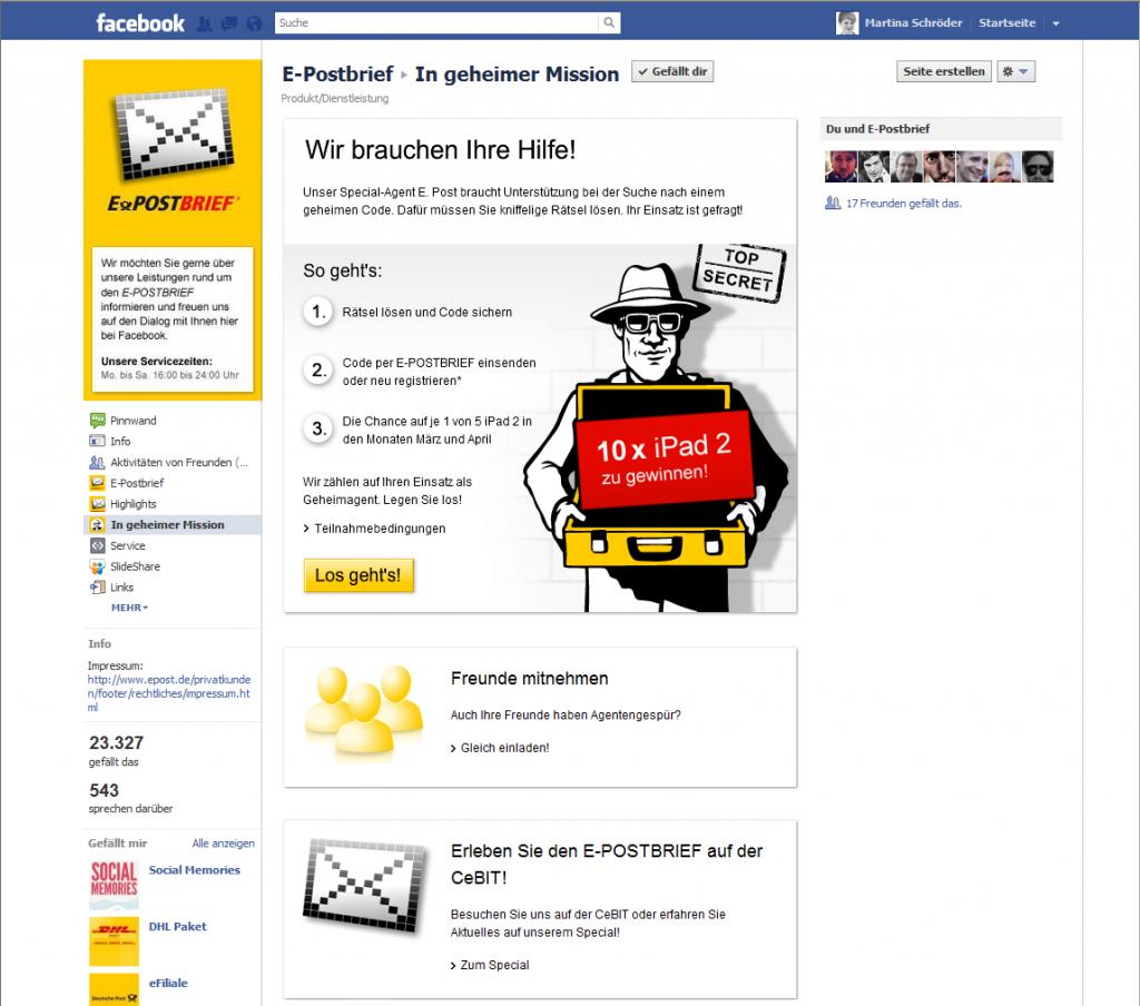 Screenshot Facebook-App-Spiel vom E-Postbrief, © Deutsche Post AG