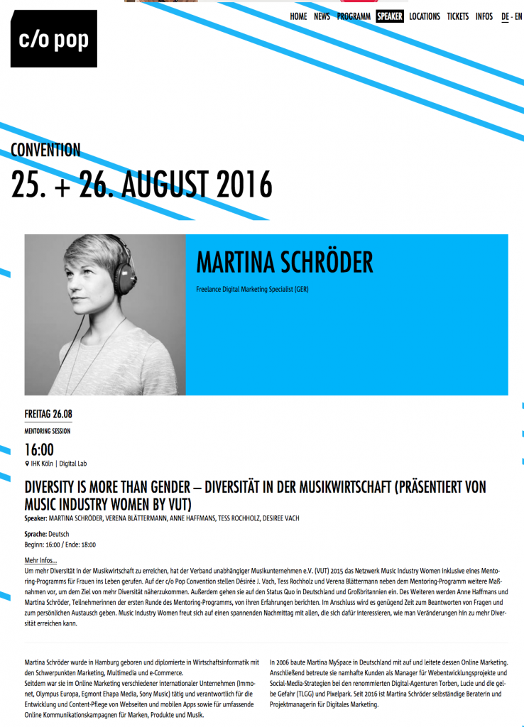 Martina Schröder Speaker c/o pop Convention 2016
