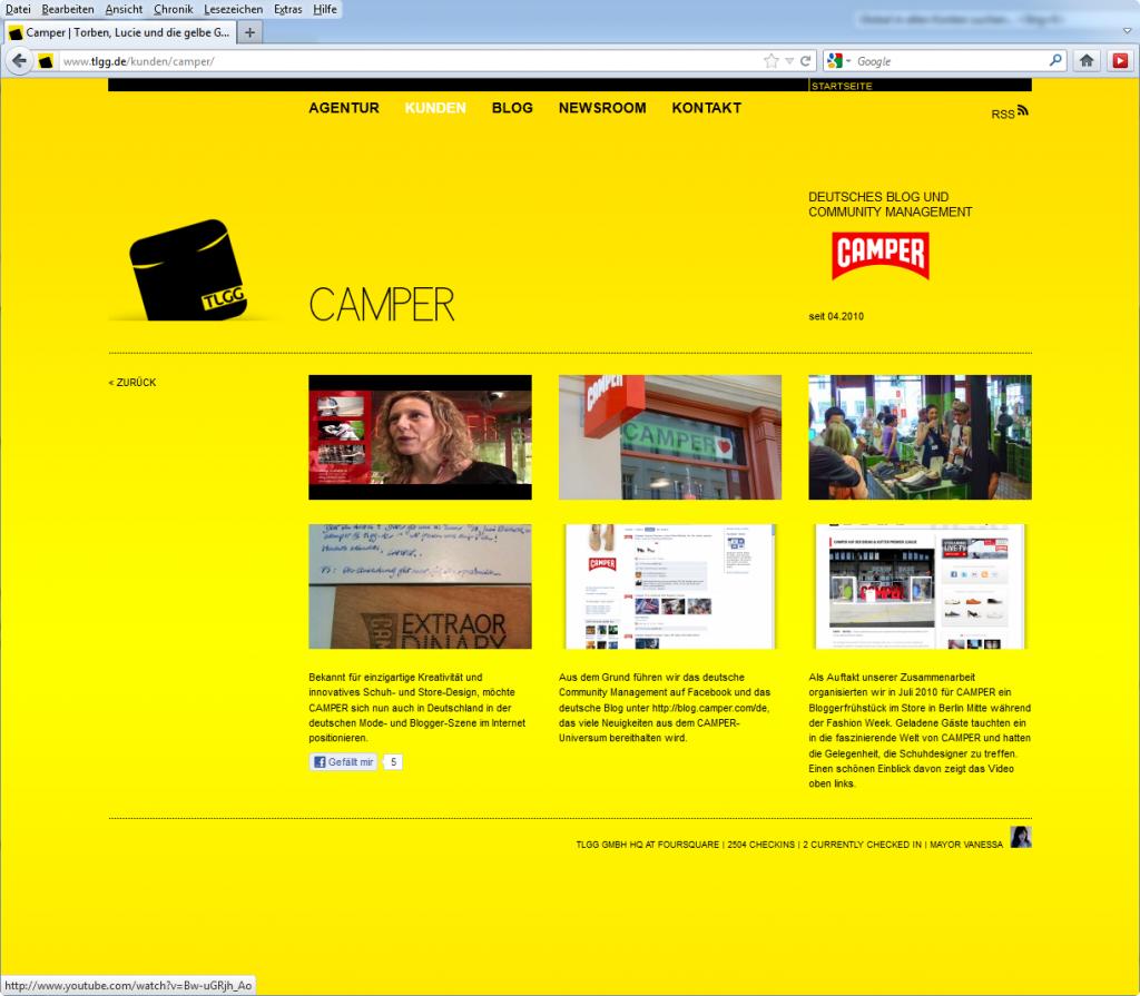 Camper Kundenseite auf tlgg.de, 2010 © TLGG