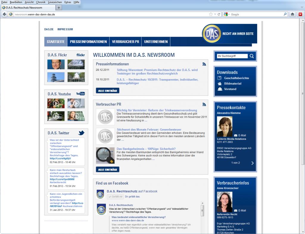 Screenshot D.A.S. Newsroom, © D.A.S. Rechtsschutz