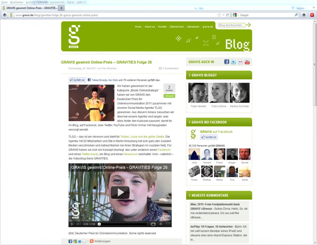 Screenshot Gravis Blog: Deutscher Preis für Onlinekommunikation, Mai 2011; © Gravis
