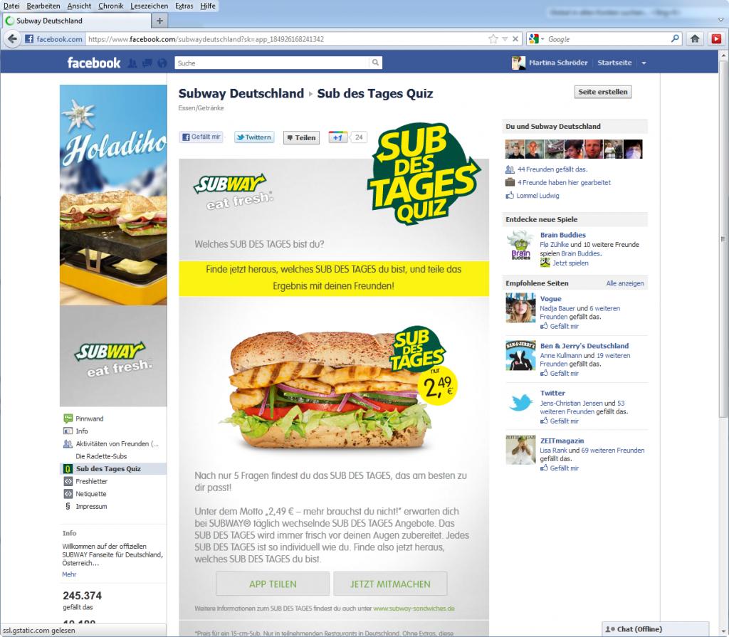 """Screenshot Subway Deutschland """"Sub des Tages Quiz"""" auf Facebook im Januar 2012"""