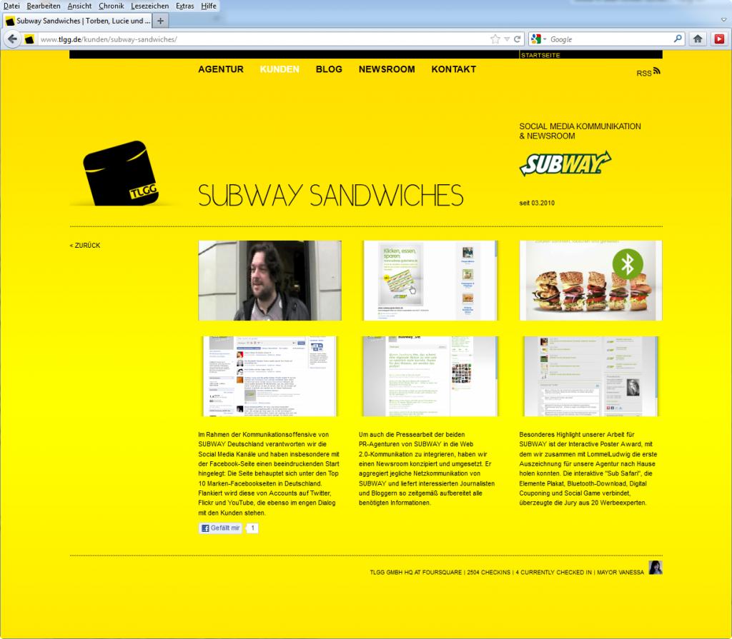 Screenshot Subway Kundenseite auf tlgg.de im Januar 2012