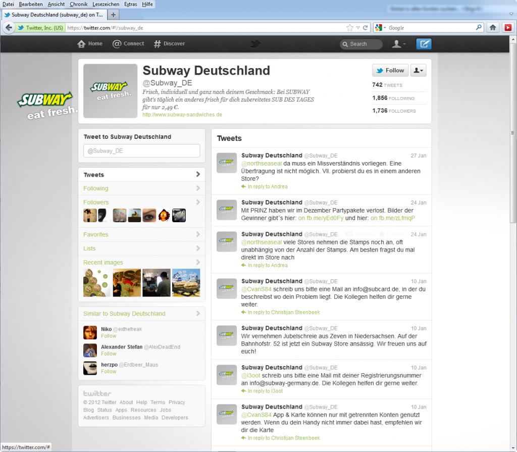 Screenshot Subway Deutschland auf Twitter im Januar 2012