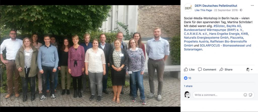 Social Media Workshop für das Deutsche Pelletinstitut DEPI