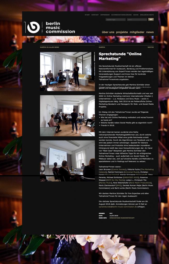 """News-Seite der """"Sprechstunde Online-Marketing"""" der Berlin Music Commission"""