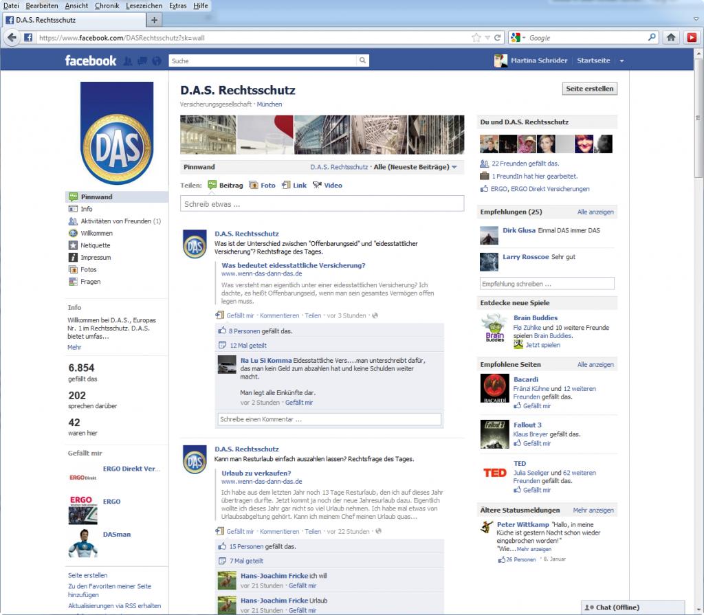Screenshot D.A.S. auf Facebook