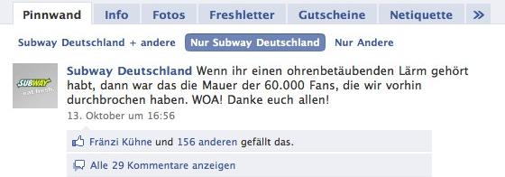 Subway Sandwiches Facebook Screenshot