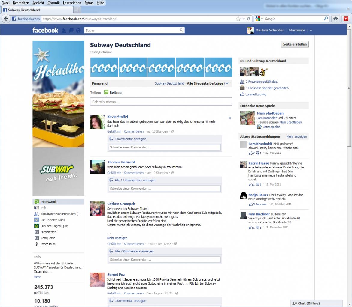 Screenshot Subway Deutschland auf Facebook im Januar 2012