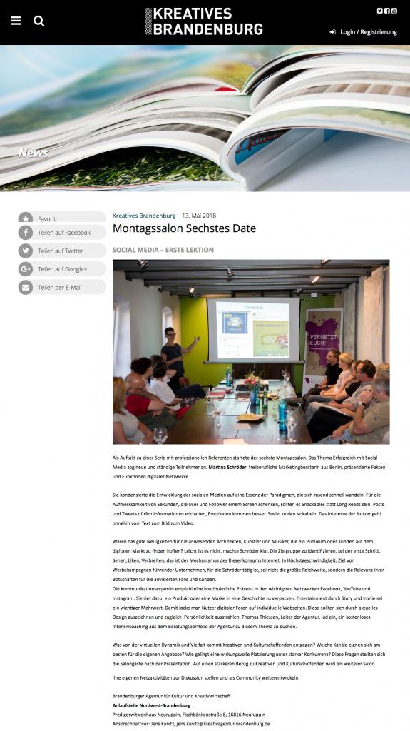 Veranstaltungs-Bericht der Kreativagentur Brandenburg