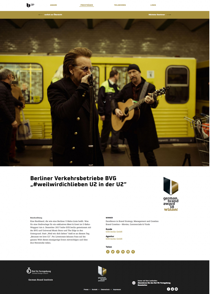 "German Brand Award 2018 für ""U2 in der U2"""