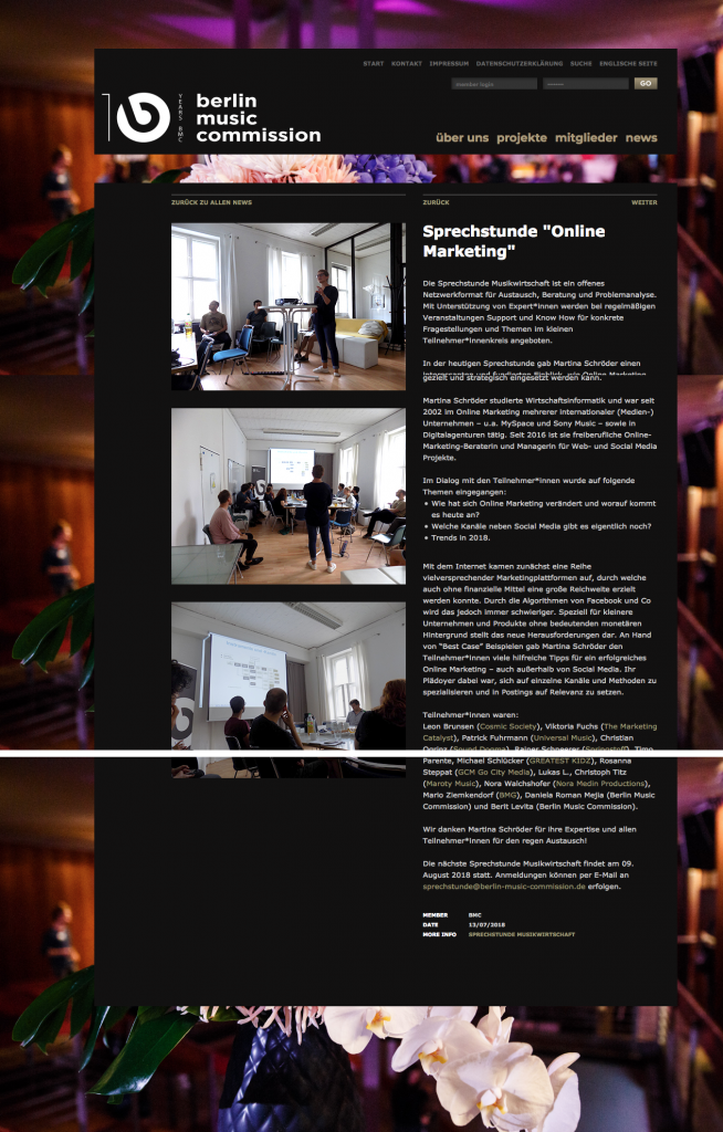 "News-Seite der ""Sprechstunde Online-Marketing"" der Berlin Music Commission"