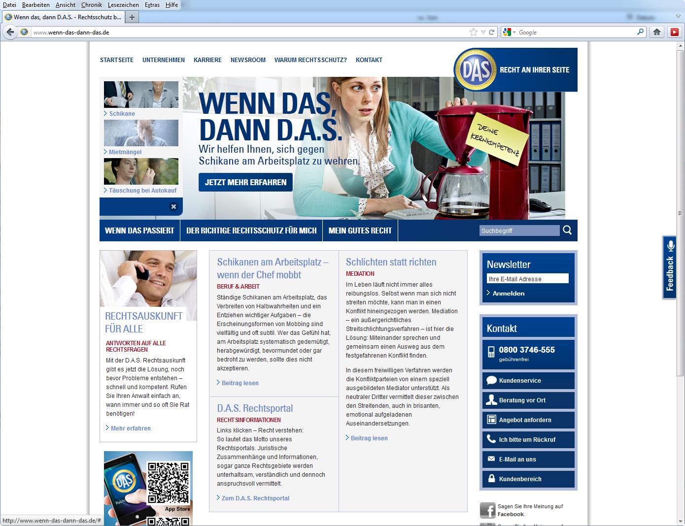 Screenshot Kampagnen-Website, © D.A.S. Rechtsschutz