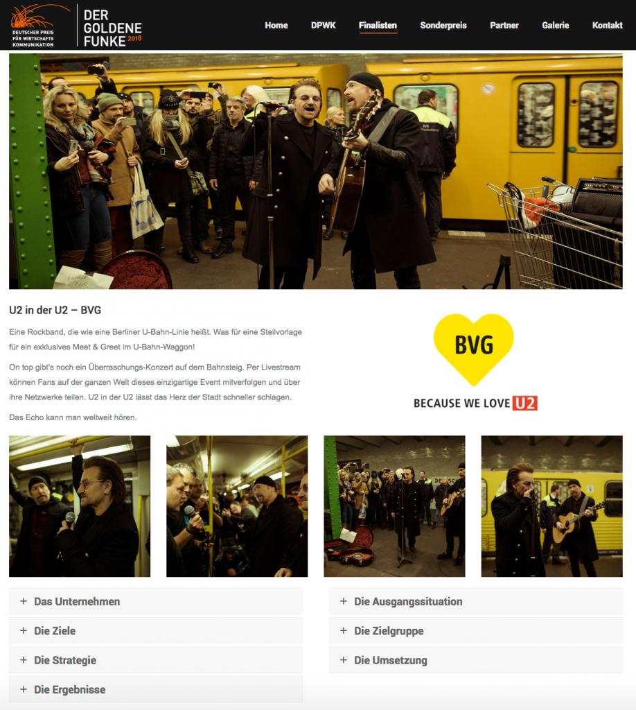 Deutscher Preis für Wirtschaftskommunikation 2018 – Der Goldene Funke - Screenshot Website